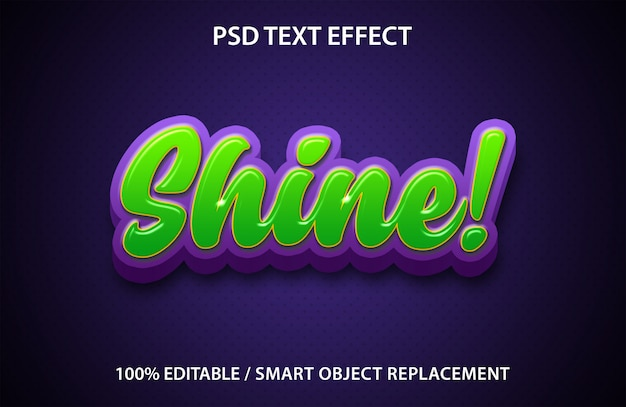 Редактируемый текстовый эффект shine premium