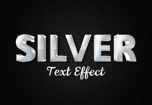 Shiny 3d silver text effect mockup