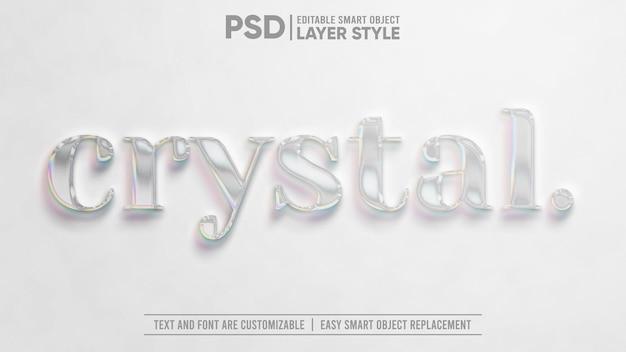 빛나는 크리스탈 보석 투명 현실적인 3d 편집 가능한 레이어 스타일 스마트 개체 텍스트 효과