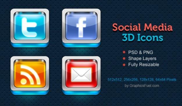 Shiny d social media icons psd
