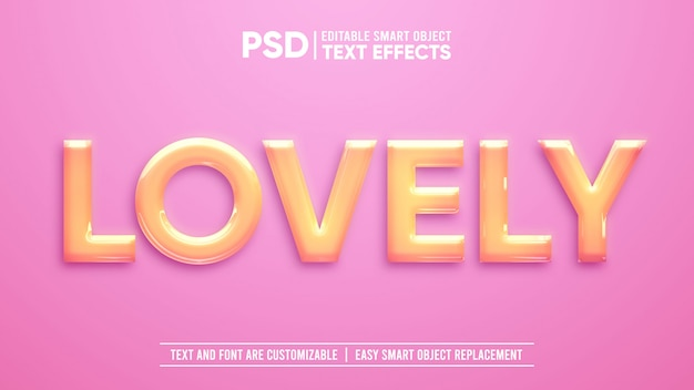 Shiny lovely plastic 3d editable smart object text effect