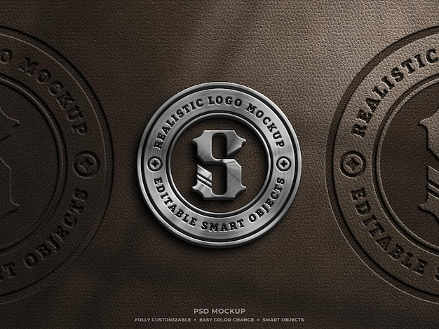 Shiny metallic and leather pressed logo mockup on brown leather