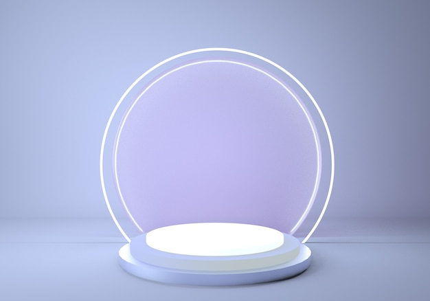 Shiny metallic podium with round neon frame isolated