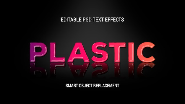 Shiny plastic text effect with the reflection