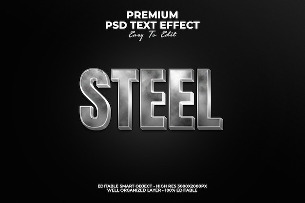 Shiny steel text style effect