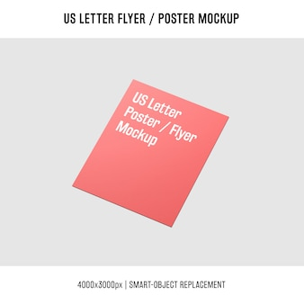 Shiny us letter flyer or poster mockup