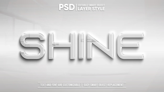 Shiny white metallic editable layer style smart object text effect
