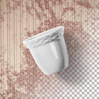 分離された光沢のある白い植木鉢