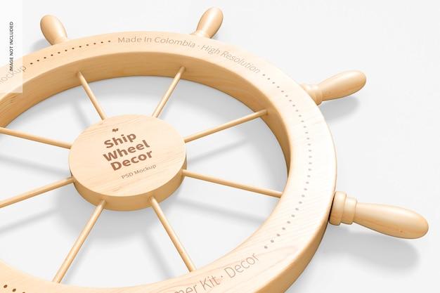 船の車輪の装飾のモックアップ、クローズアップ