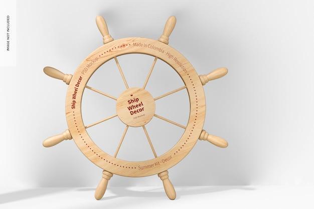 船の車輪の装飾のモックアップ、傾いた