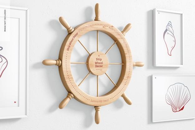 壁の船の車輪の装飾のモックアップ