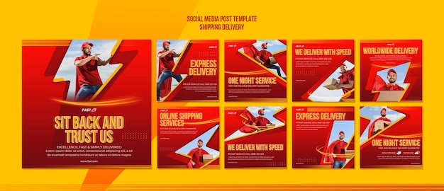 Shipping delivery social media post template