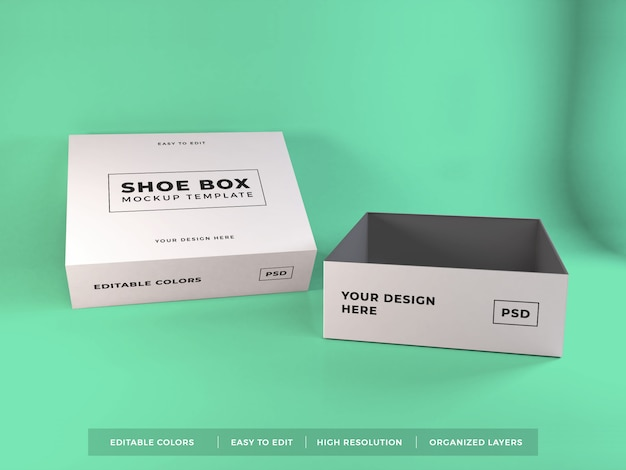 Shoe box packaging mockup