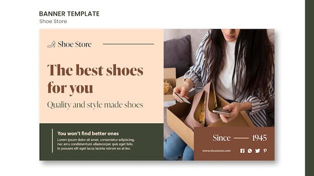 Modello di banner concetto di negozio di scarpe