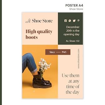 Шаблон плаката концепции магазина обуви