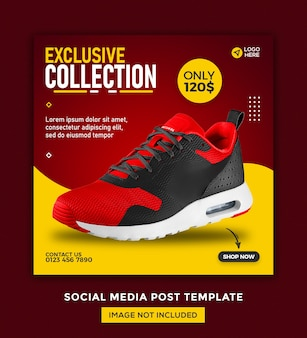 Shoes social media banner and instagram post template design