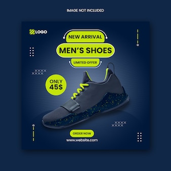 Обувь в социальных сетях instagram post и квадратный флаер шаблон