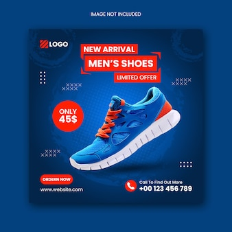 Shoes social media instagram post square flyer template