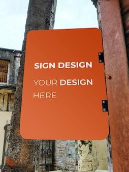 Shop directional signboard mockup