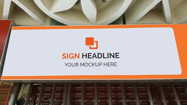 Shop front signboard mockup