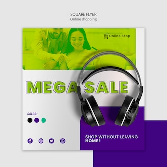 Shop now devices online square flyer with headphones