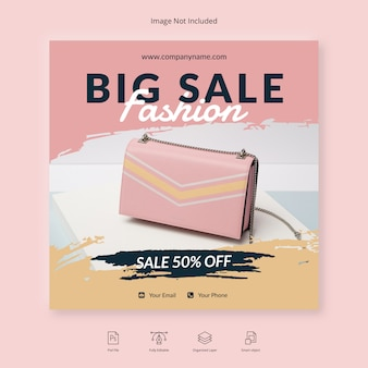 Shop promo discount sale instagram post social media banner template