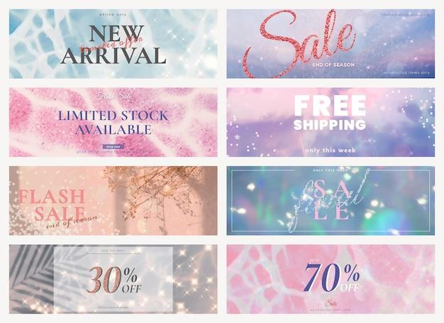 Negozio di vendita modello modificabile set glitter psd per annunci sui social media
