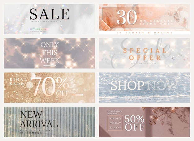 Shop sale editable template psd glitter set for social media ads