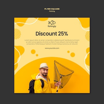 Shop sales man in yellow fishing coat square flyer