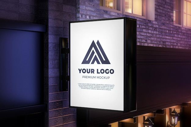 Shop sign mockup hanging vertical wall realistic night light
