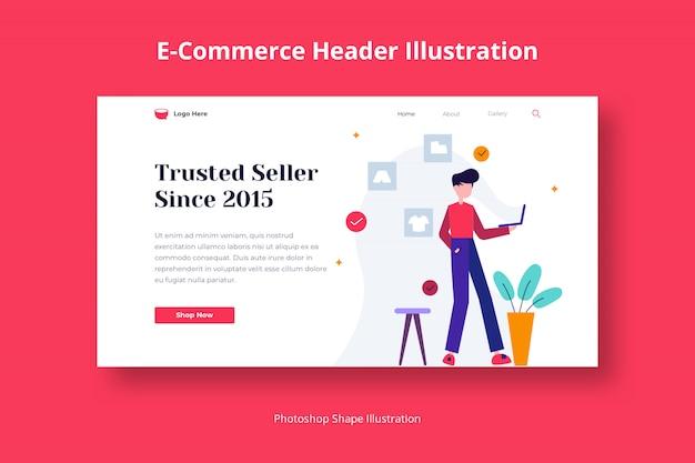 Shop store ecommerce header web flat illustration abstract