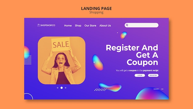 Shopping ad template landing page
