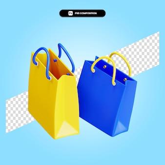 Сумка для покупок 3d визуализации изолированных иллюстрация