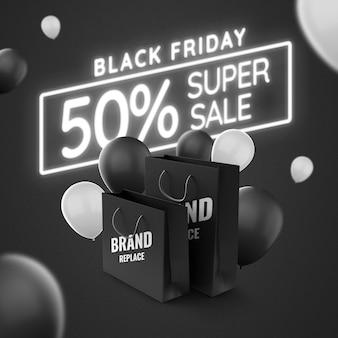 쇼핑백 및 네온 사인 블랙 프라이데이 모형