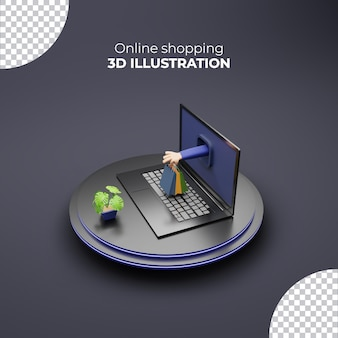 Shopping bag hand holding from laptop 3d online shopping on podium