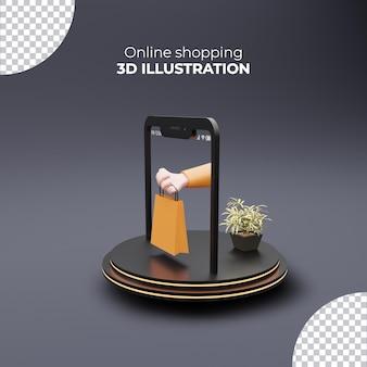 Сумка для покупок, держащая руку от смартфона, 3d интернет-магазины