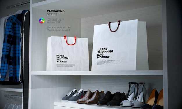 Shopping bag mockup in 3d rendering