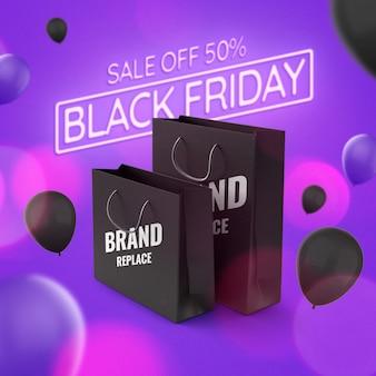 Shopping bag mockup advertising black friday