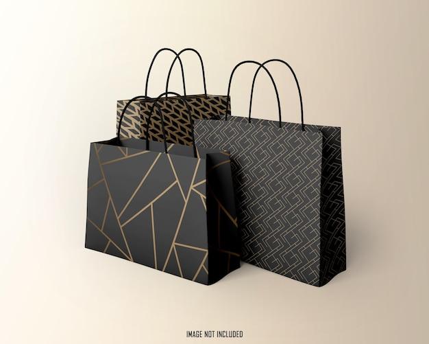 ショッピングバッグのモックアップデザインのレンダリング