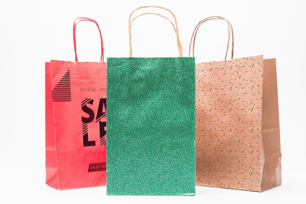 Shopping bag mockup in different colors