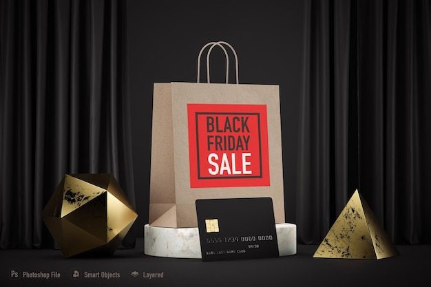 ブラックフライデーのために分離されたショッピングバッグのモックアップ