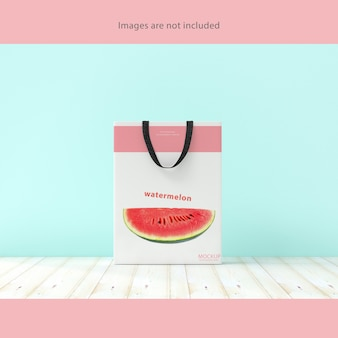 Shopping bag white color on wooden floor