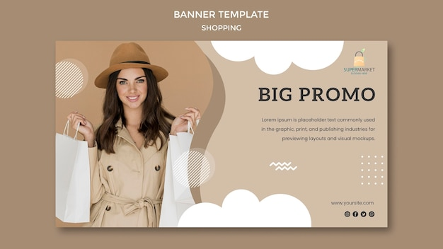 Shopping big promo banner template
