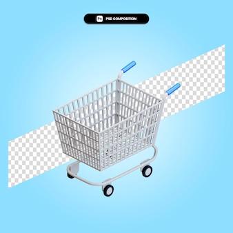 ショッピングカートの3dレンダリングイラストが分離されました