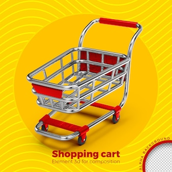Shopping cart 3d render isolated