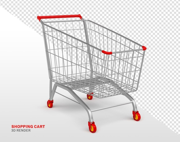 Shopping cart 3d rendering isolated