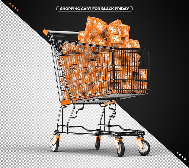 오렌지 큐브로 가득 찬 쇼핑 카트