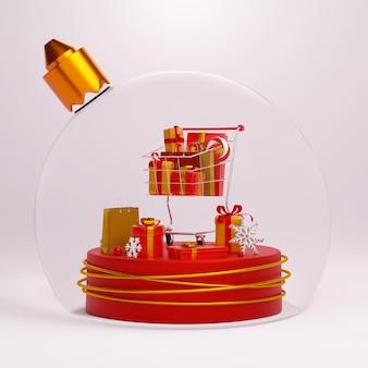 クリスマスボール、3dイラストの幾何学的な表彰台にギフトとショッピングバッグでいっぱいのショッピングカート