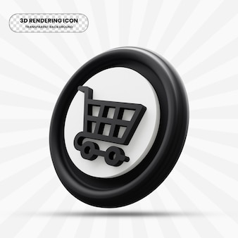Shopping cart icon in 3d rendering
