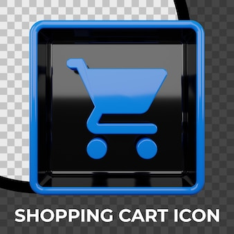 Shopping cart icon 3d rendering
